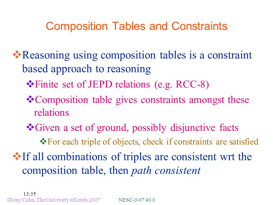 Tony Cohn, The University of Leeds 2007 NESC :35 Composition Tables and Constraints Reasoning using composition tables is a constraint based approach to reasoning Finite set of JEPD relations (e.g.