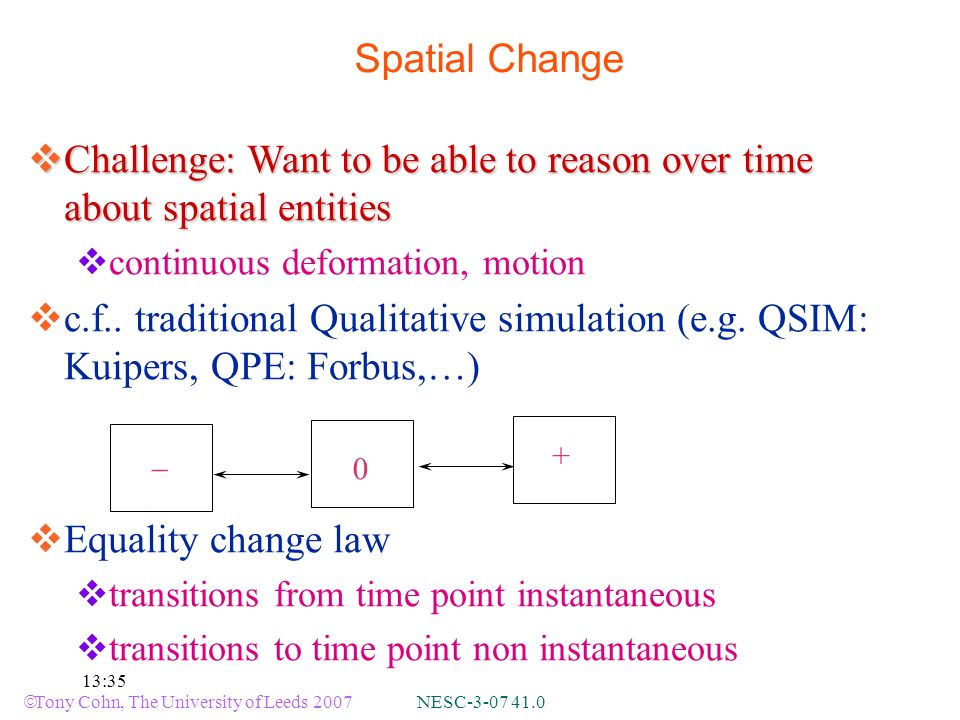 Tony Cohn, The University of Leeds 2007 NESC-3-07 41.0 13:35 Spatial Change Challenge: Want to be able to reason over time about spatial entities Challenge: Want to be able to reason over time about spatial entities continuous deformation, motion c.f..