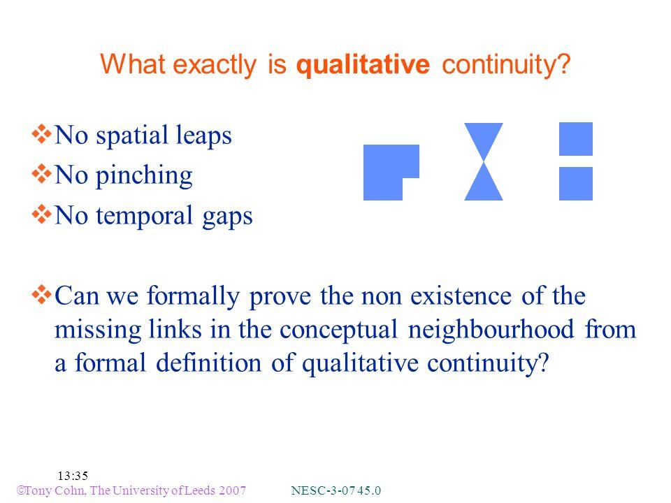 Tony Cohn, The University of Leeds 2007 NESC-3-07 45.0 13:35 What exactly is qualitative continuity.