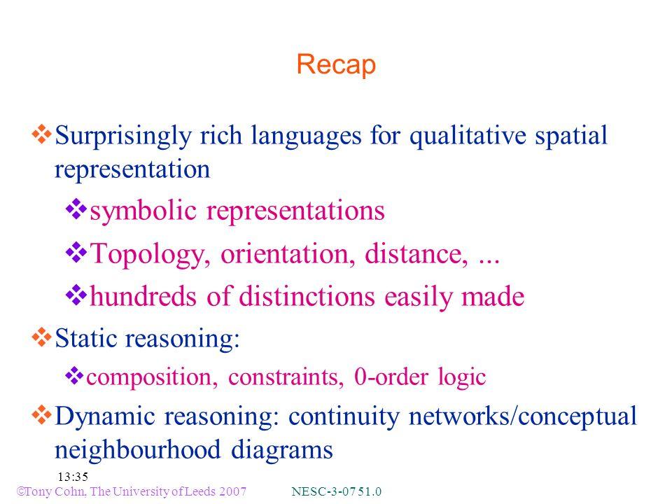 Tony Cohn, The University of Leeds 2007 NESC-3-07 51.0 13:35 Recap Surprisingly rich languages for qualitative spatial representation symbolic representations Topology, orientation, distance,...