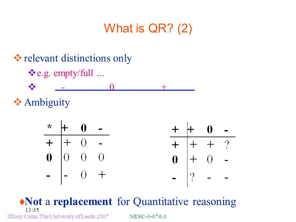 Tony Cohn, The University of Leeds 2007 NESC-3-07 6.0 13:35 Not a replacement for Quantitative reasoning What is QR.