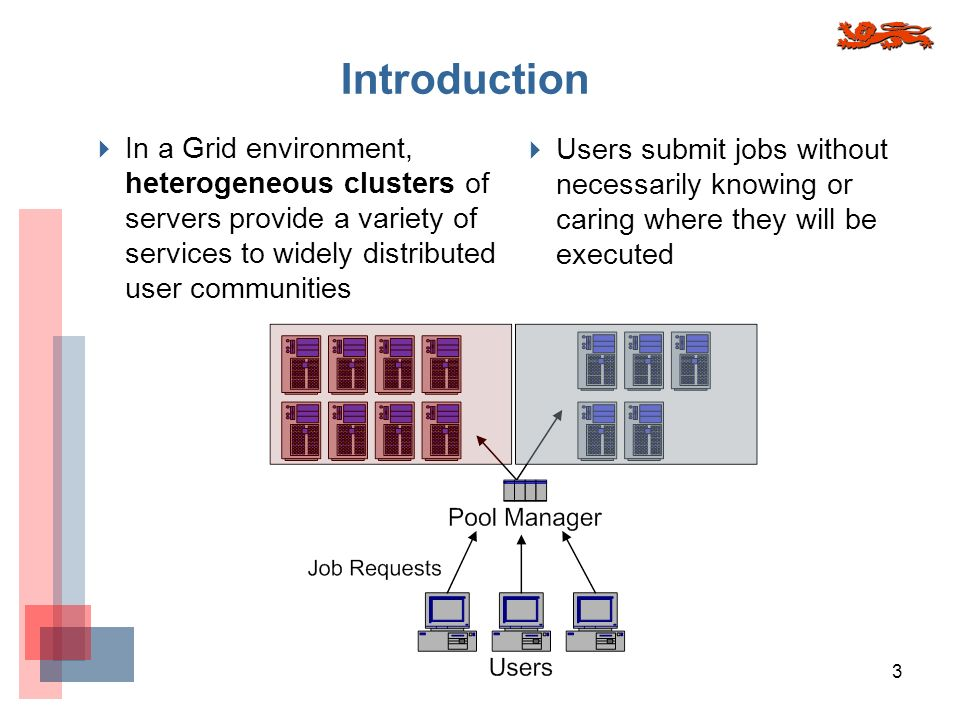 3 Introduction In a Grid environment, heterogeneous clusters of servers provide a variety of services to widely distributed user communities Users submit jobs without necessarily knowing or caring where they will be executed