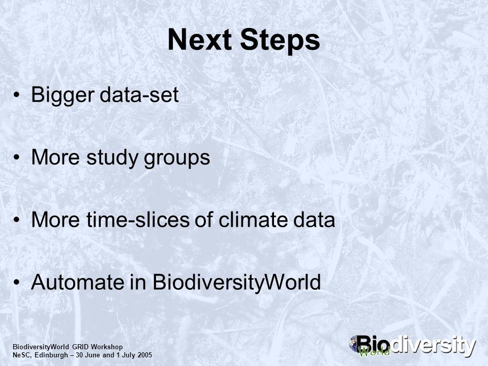 BiodiversityWorld GRID Workshop NeSC, Edinburgh – 30 June and 1 July 2005 Next Steps Bigger data-set More study groups More time-slices of climate dat
