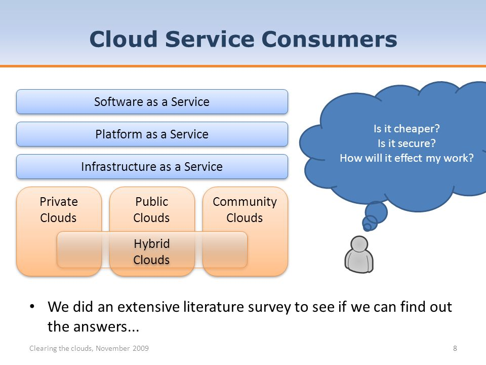 8 Cloud Service Consumers Software as a Service Platform as a Service Infrastructure as a Service Public Clouds Public Clouds Private Clouds Private Clouds Community Clouds Community Clouds Hybrid Clouds Hybrid Clouds Is it cheaper.
