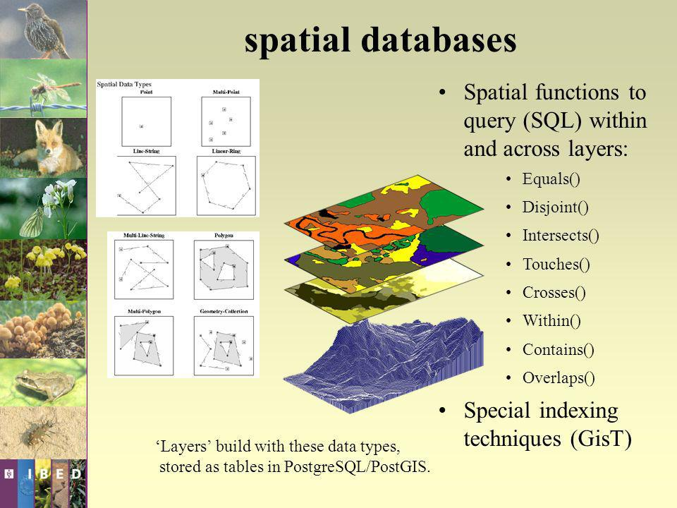 Spatial functions to query (SQL) within and across layers: Equals() Disjoint() Intersects() Touches() Crosses() Within() Contains() Overlaps() Special indexing techniques (GisT) Layers build with these data types, stored as tables in PostgreSQL/PostGIS.