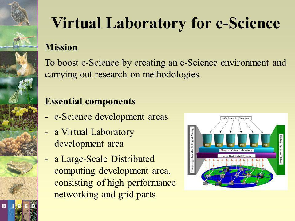 Virtual Laboratory for e-Science Aim To develop and apply a Grid and Virtual Lab technology based information system and research environment.