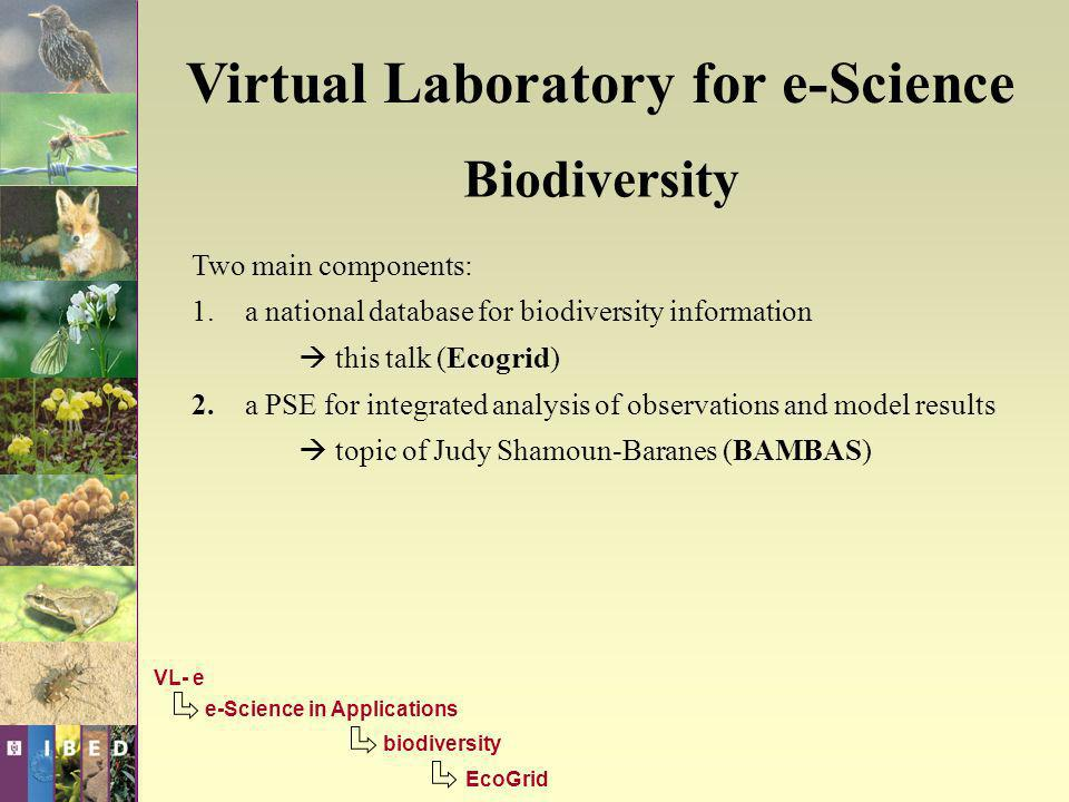 Virtual Laboratory for e-Science Biodiversity Two main components: 1.a national database for biodiversity information this talk (Ecogrid) 2.a PSE for integrated analysis of observations and model results topic of Judy Shamoun-Baranes (BAMBAS) VL- e e-Science in Applications biodiversity EcoGrid