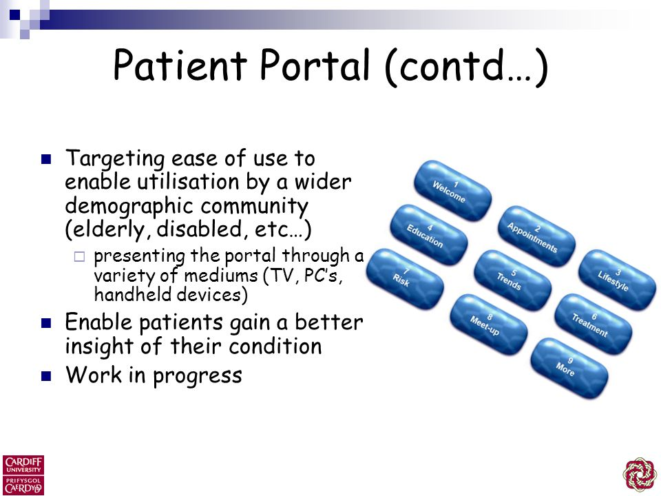 Patient Portal (contd…) Targeting ease of use to enable utilisation by a wider demographic community (elderly, disabled, etc…) presenting the portal t