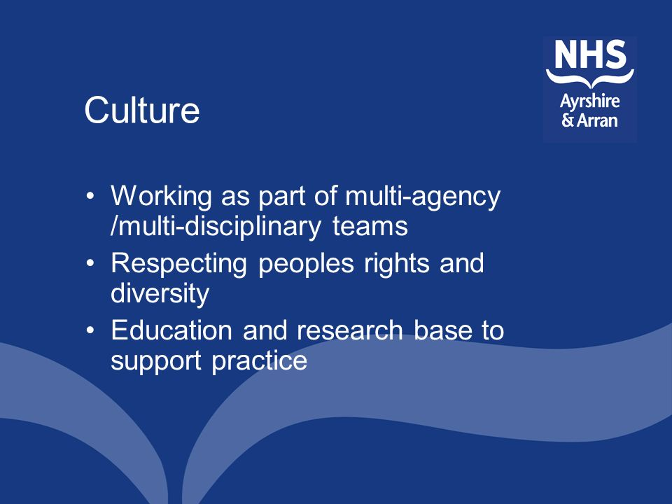 Culture Working as part of multi-agency /multi-disciplinary teams Respecting peoples rights and diversity Education and research base to support pract