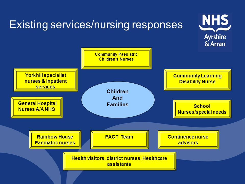 Existing services/nursing responses Community Paediatric Childrens Nurses Community Learning Disability Nurse School Nurses/special needs Continence n