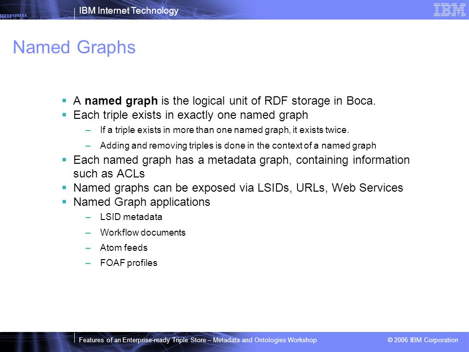 IBM Internet Technology Features of an Enterprise-ready Triple Store – Metadata and Ontologies Workshop © 2006 IBM Corporation Named Graphs A named graph is the logical unit of RDF storage in Boca.