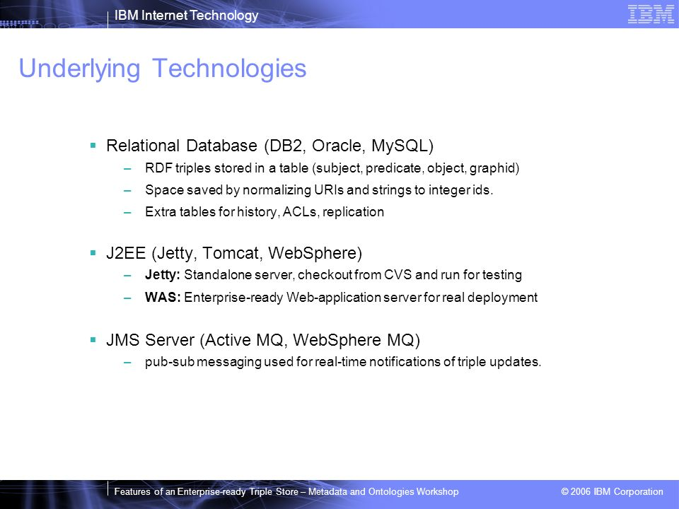 IBM Internet Technology Features of an Enterprise-ready Triple Store – Metadata and Ontologies Workshop © 2006 IBM Corporation Underlying Technologies Relational Database (DB2, Oracle, MySQL) –RDF triples stored in a table (subject, predicate, object, graphid) –Space saved by normalizing URIs and strings to integer ids.