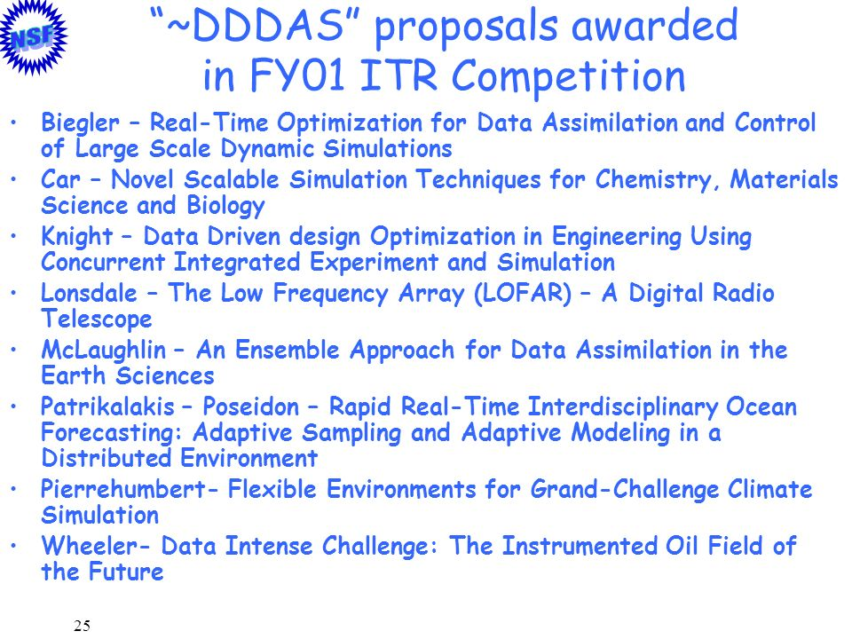25 ~DDDAS proposals awarded in FY01 ITR Competition Biegler – Real-Time Optimization for Data Assimilation and Control of Large Scale Dynamic Simulati