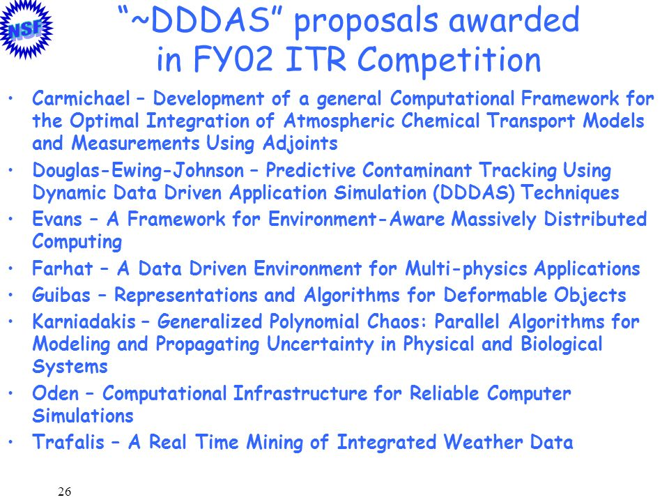 26 ~DDDAS proposals awarded in FY02 ITR Competition Carmichael – Development of a general Computational Framework for the Optimal Integration of Atmos