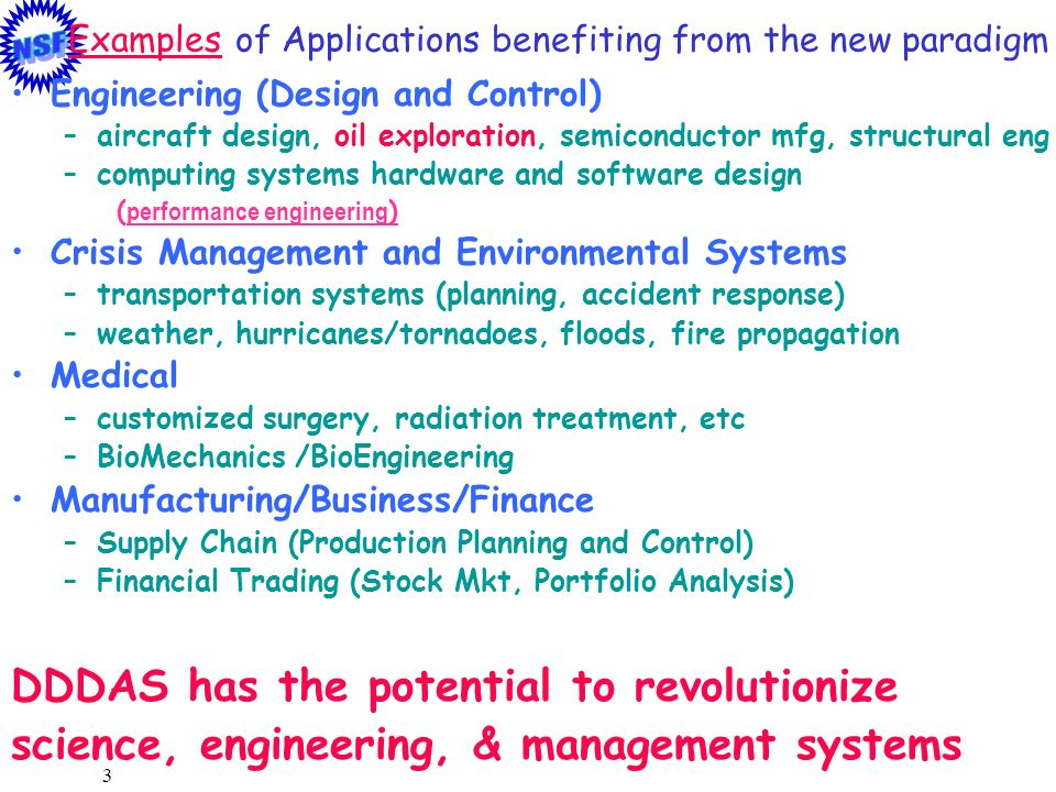 24 ~DDDAS proposals awarded in FY00 ITR Competition Pingali, Adaptive Software for Field-Driven Simulations