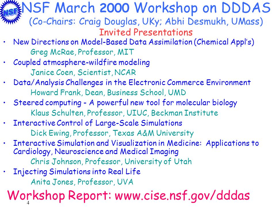 4 NSF March 2000 Workshop on DDDAS (Co-Chairs: Craig Douglas, UKy; Abhi Desmukh, UMass) Invited Presentations New Directions on Model-Based Data Assim