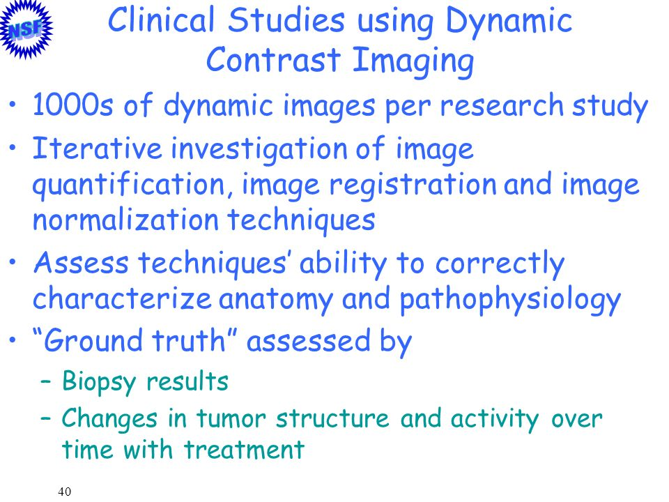 40 Clinical Studies using Dynamic Contrast Imaging 1000s of dynamic images per research study Iterative investigation of image quantification, image r