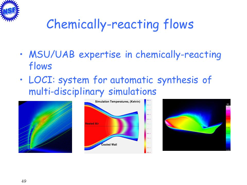 49 Chemically-reacting flows MSU/UAB expertise in chemically-reacting flows LOCI: system for automatic synthesis of multi-disciplinary simulations
