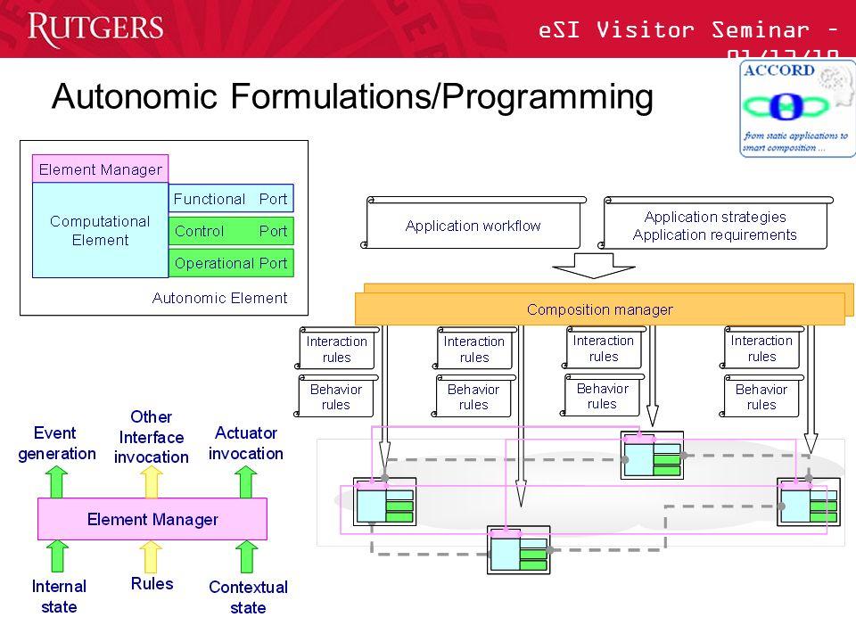 eSI Visitor Seminar – 01/13/10 Autonomic Formulations/Programming