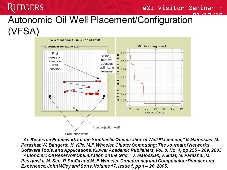 eSI Visitor Seminar – 01/13/10 Autonomic Oil Well Placement/Configuration (VFSA) An Reservoir Framework for the Stochastic Optimization of Well Placement, V.