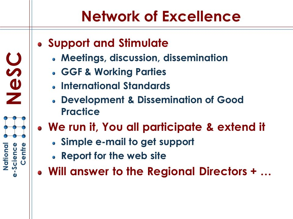 Network of Excellence Support and Stimulate Meetings, discussion, dissemination GGF & Working Parties International Standards Development & Dissemination of Good Practice We run it, You all participate & extend it Simple e-mail to get support Report for the web site Will answer to the Regional Directors + …