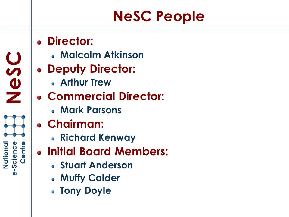 NeSC People Director: Malcolm Atkinson Deputy Director: Arthur Trew Commercial Director: Mark Parsons Chairman: Richard Kenway Initial Board Members: Stuart Anderson Muffy Calder Tony Doyle