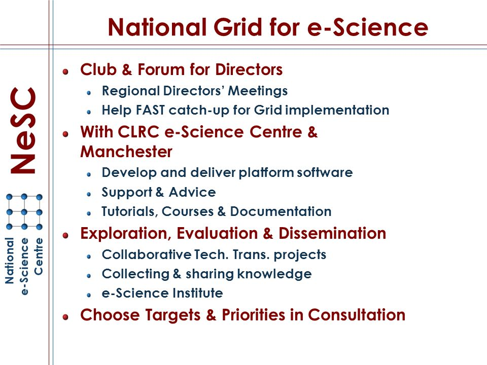 National Grid for e-Science Club & Forum for Directors Regional Directors Meetings Help FAST catch-up for Grid implementation With CLRC e-Science Centre & Manchester Develop and deliver platform software Support & Advice Tutorials, Courses & Documentation Exploration, Evaluation & Dissemination Collaborative Tech.