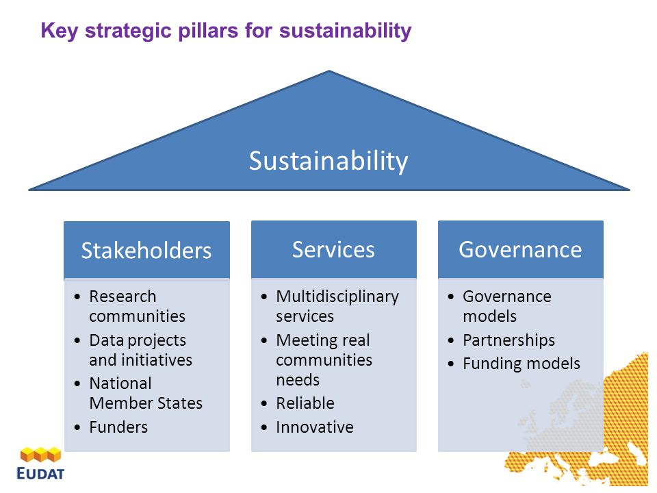 Stakeholders Research communities Data projects and initiatives National Member States Funders Services Multidisciplinary services Meeting real communities needs Reliable Innovative Governance Governance models Partnerships Funding models Sustainability Key strategic pillars for sustainability