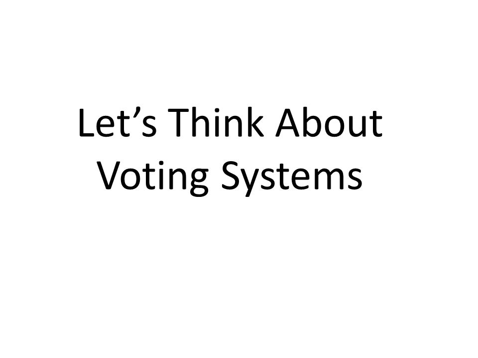 Lets Think About Voting Systems