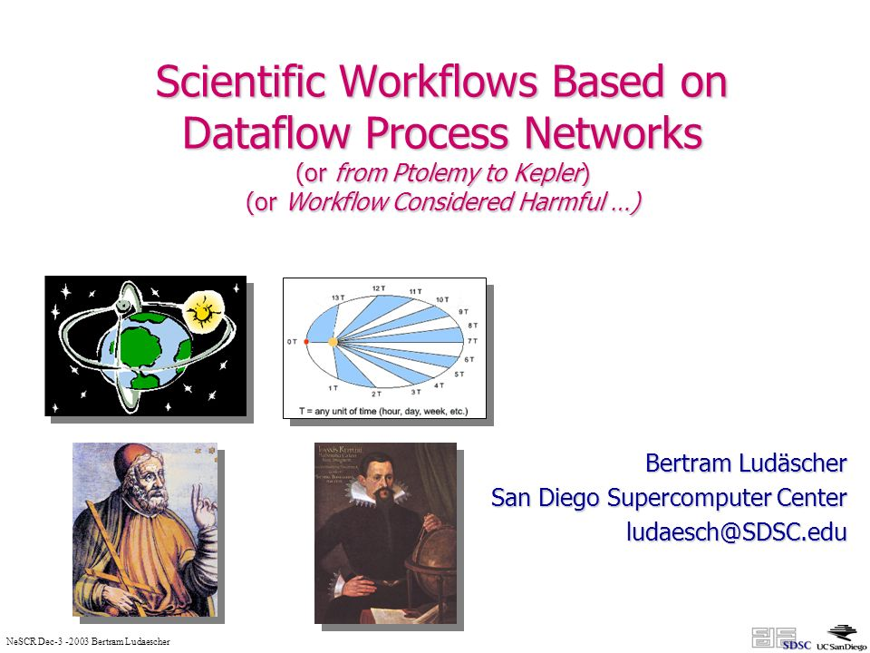 NeSCR Dec Bertram Ludaescher Scientific Workflows Based on Dataflow Process Networks (or from Ptolemy to Kepler) (or Workflow Considered Harmful …) Bertram Ludäscher San Diego Supercomputer Center
