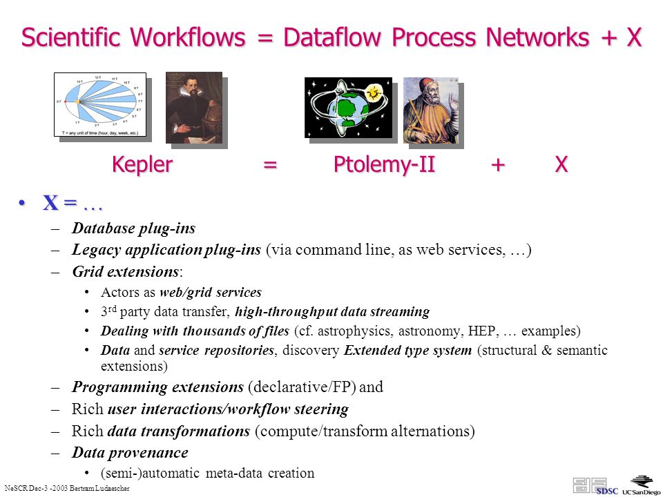 NeSCR Dec Bertram Ludaescher Scientific Workflows = Dataflow Process Networks + X X = …X = … –Database plug-ins –Legacy application plug-ins (via command line, as web services, …) –Grid extensions: Actors as web/grid services 3 rd party data transfer, high-throughput data streaming Dealing with thousands of files (cf.