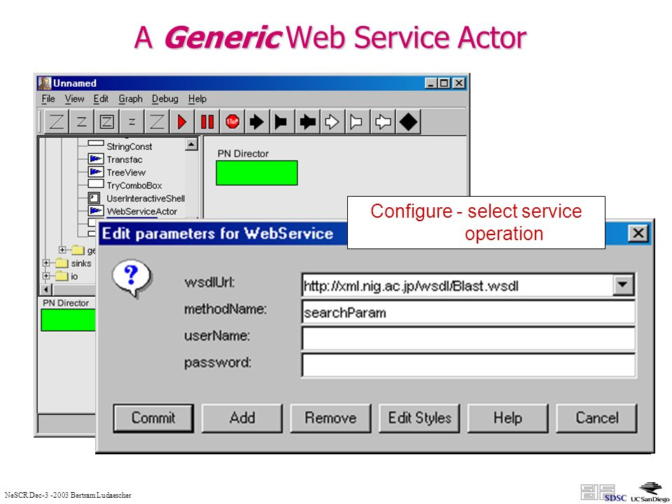 NeSCR Dec-3 -2003 Bertram Ludaescher A Generic Web Service Actor Configure – select WSDL url from repository Configure - select service operation