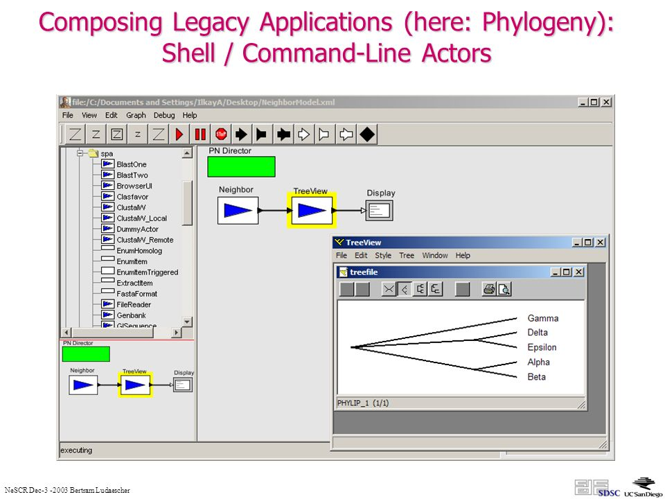 NeSCR Dec-3 -2003 Bertram Ludaescher Composing Legacy Applications (here: Phylogeny): Shell / Command-Line Actors