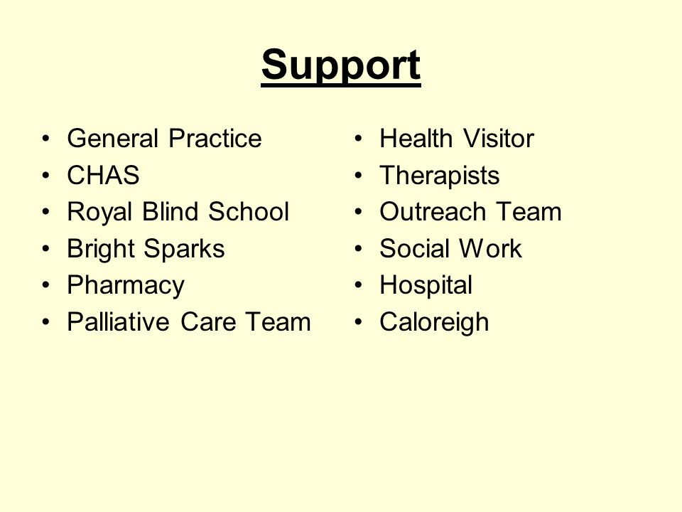 Support General Practice CHAS Royal Blind School Bright Sparks Pharmacy Palliative Care Team Health Visitor Therapists Outreach Team Social Work Hospi
