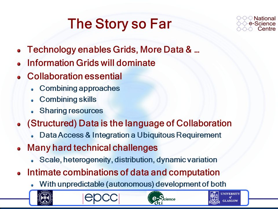 The Story so Far Technology enables Grids, More Data & … Information Grids will dominate Collaboration essential Combining approaches Combining skills