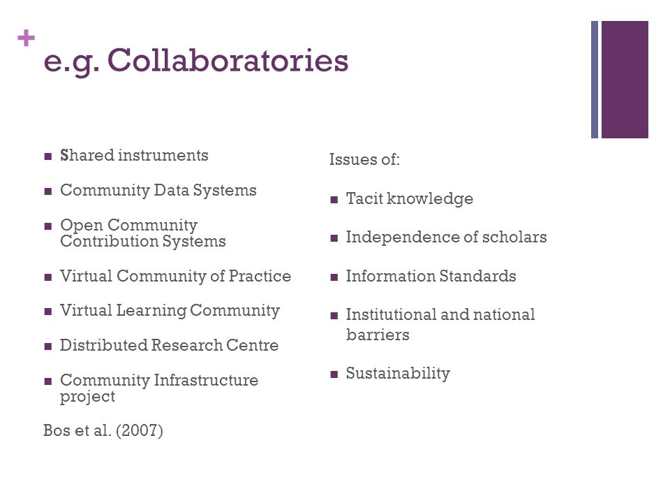 + e.g. Collaboratories Shared instruments Community Data Systems Open Community Contribution Systems Virtual Community of Practice Virtual Learning Co