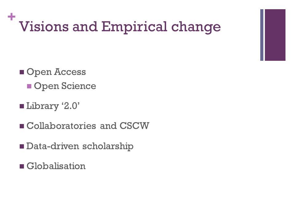 + Visions and Empirical change Open Access Open Science Library 2.0 Collaboratories and CSCW Data-driven scholarship Globalisation