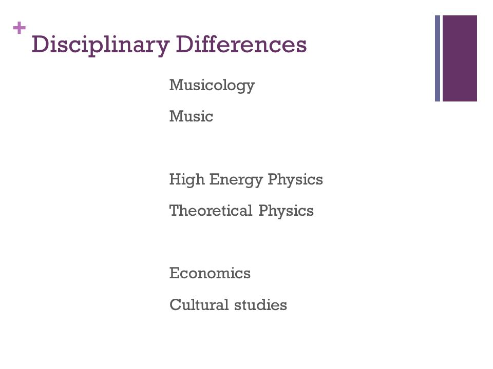 + Disciplinary Differences Musicology Music High Energy Physics Theoretical Physics Economics Cultural studies
