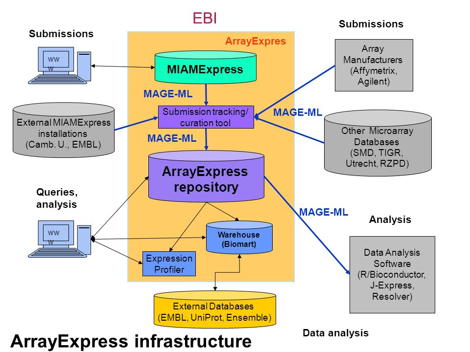 ArrayExpress repository Other Microarray Databases (SMD, TIGR, Utrecht, RZPD) ww w EBI Expression Profiler External Databases (EMBL, UniProt, Ensemble) Data analysis Queries, analysis MIAMExpress Submissions Array Manufacturers (Affymetrix, Agilent) Data Analysis Software (R/Bioconductor, J-Express, Resolver) Submissions Warehouse (Biomart) ArrayExpress infrastructure Submission tracking/ curation tool External MIAMExpress installations (Camb.