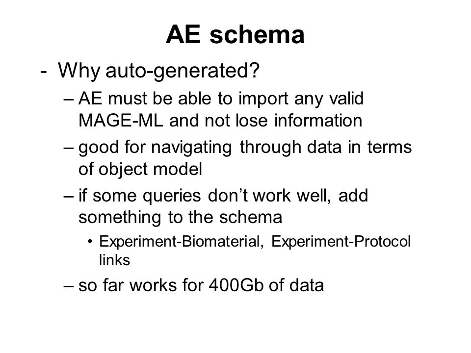 AE schema -Why auto-generated.