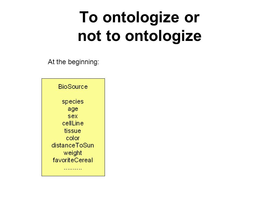 To ontologize or not to ontologize At the beginning:At the end: