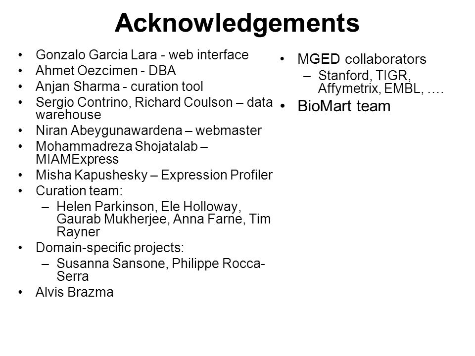 Acknowledgements Gonzalo Garcia Lara - web interface Ahmet Oezcimen - DBA Anjan Sharma - curation tool Sergio Contrino, Richard Coulson – data warehouse Niran Abeygunawardena – webmaster Mohammadreza Shojatalab – MIAMExpress Misha Kapushesky – Expression Profiler Curation team: –Helen Parkinson, Ele Holloway, Gaurab Mukherjee, Anna Farne, Tim Rayner Domain-specific projects: –Susanna Sansone, Philippe Rocca- Serra Alvis Brazma MGED collaborators –Stanford, TIGR, Affymetrix, EMBL, ….
