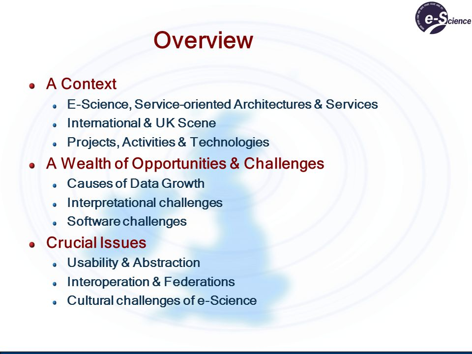Overview A Context E-Science, Service-oriented Architectures & Services International & UK Scene Projects, Activities & Technologies A Wealth of Oppor