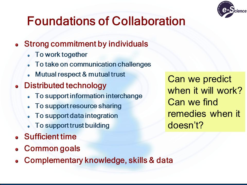 Foundations of Collaboration Strong commitment by individuals To work together To take on communication challenges Mutual respect & mutual trust Distr