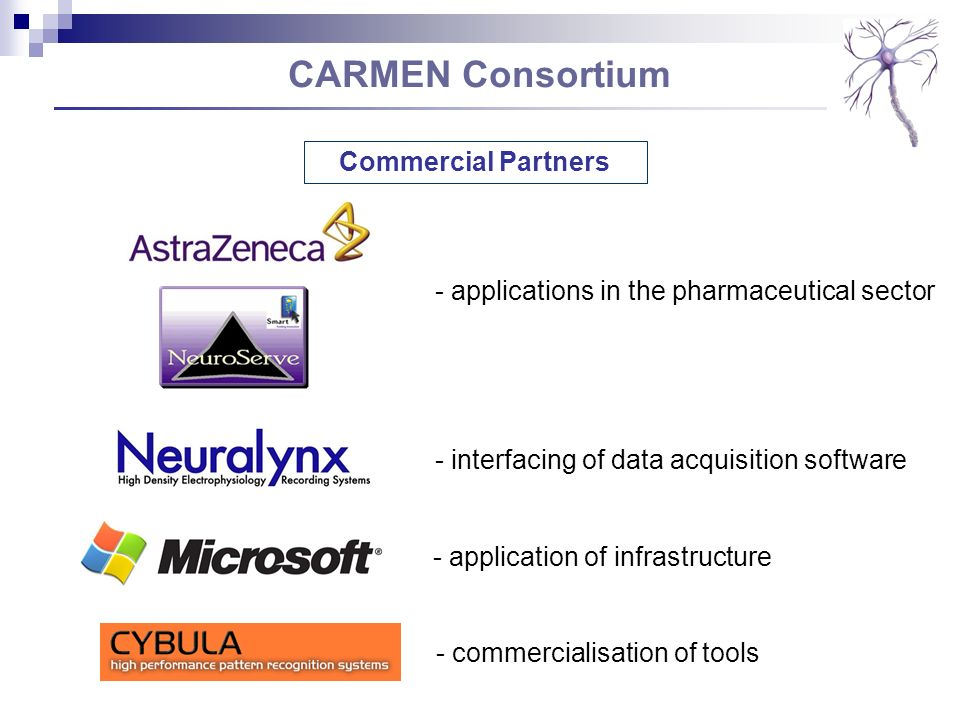 CARMEN Consortium Commercial Partners - applications in the pharmaceutical sector - interfacing of data acquisition software - application of infrastr