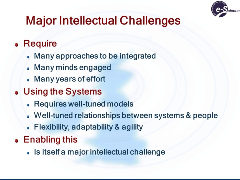 Major Intellectual Challenges Require Many approaches to be integrated Many minds engaged Many years of effort Using the Systems Requires well-tuned m