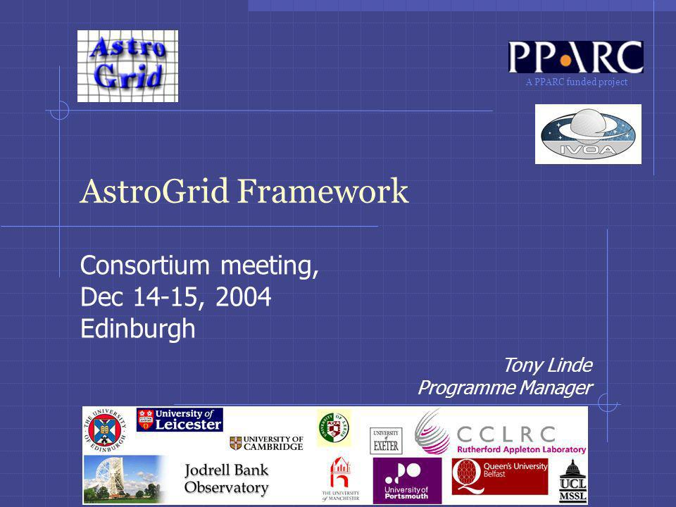 12 Tony Linde14-15 Dec 2004AstroGrid Consortium Meeting: Project Framework Access Control AstroGrid has taken the lead in AAA because our system is based on writable storage Implement single-sign-on (SSO) authentication Using a community service (so, account can be used with a number of portals or other UIs) Programme-to-programme authentication based on message security with SOAP headers and WS-Security Facade API to hide details from implementations Underneath, use JAX-RPC/Axis handlers to secure messages.