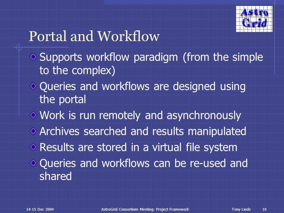 10 Tony Linde14-15 Dec 2004AstroGrid Consortium Meeting: Project Framework Portal and Workflow Supports workflow paradigm (from the simple to the complex) Queries and workflows are designed using the portal Work is run remotely and asynchronously Archives searched and results manipulated Results are stored in a virtual file system Queries and workflows can be re-used and shared