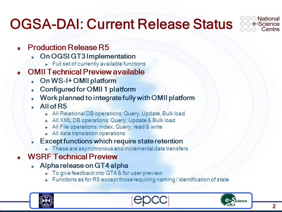 3 Requirements for State Third-party data delivery To avoid extra handling via client When data is collected at a time chosen by a consumer Asynchronous data delivery Essential with large result sets or streams E.g.