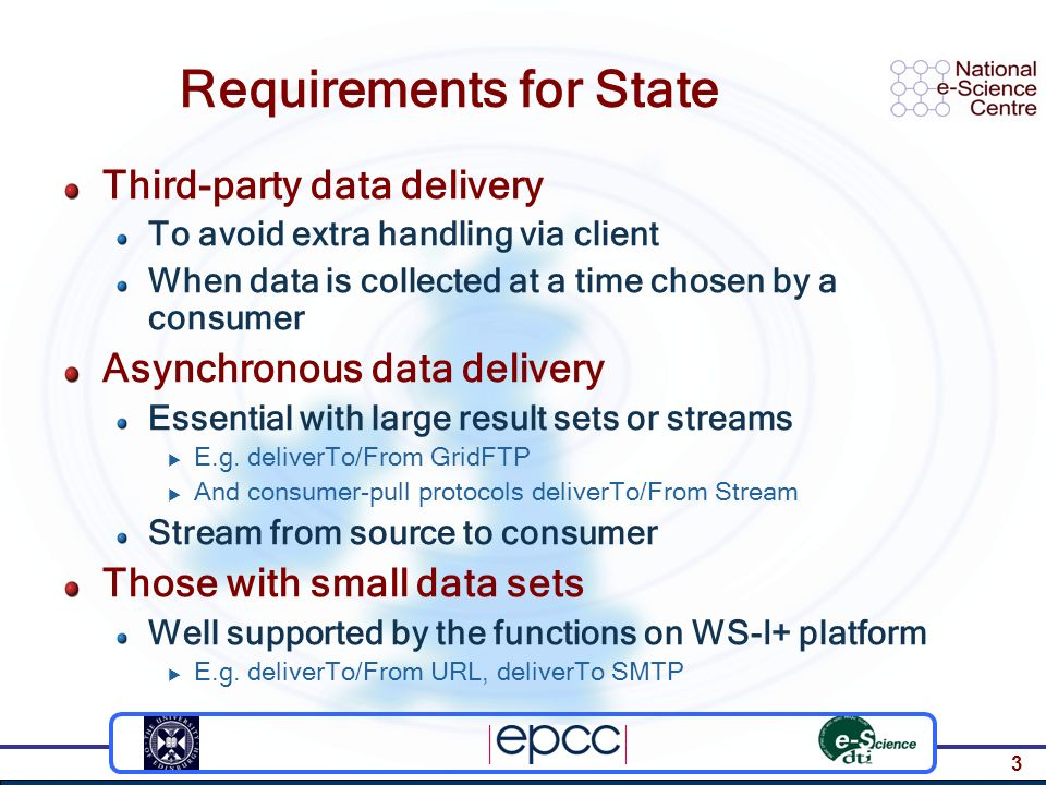 3 Requirements for State Third-party data delivery To avoid extra handling via client When data is collected at a time chosen by a consumer Asynchrono